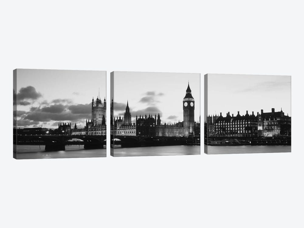 Buildings lit up at dusk, Big Ben, Houses of Parliament, Thames River, City of Westminster, London, England (black & white) by Panoramic Images 3-piece Canvas Wall Art
