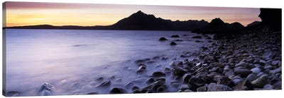 Rocks on the beach, Elgol Beach, Elgol, looking towards Cuillin Hills, Isle Of Skye, Scotland Canvas Art Print