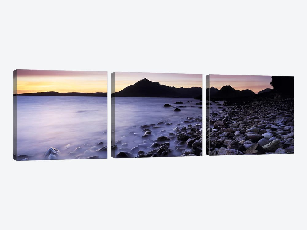 Rocks on the beach, Elgol Beach, Elgol, looking towards Cuillin Hills, Isle Of Skye, Scotland by Panoramic Images 3-piece Canvas Print