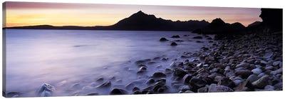 Rocks on the beach, Elgol Beach, Elgol, looking towards Cuillin Hills, Isle Of Skye, Scotland Canvas Art Print