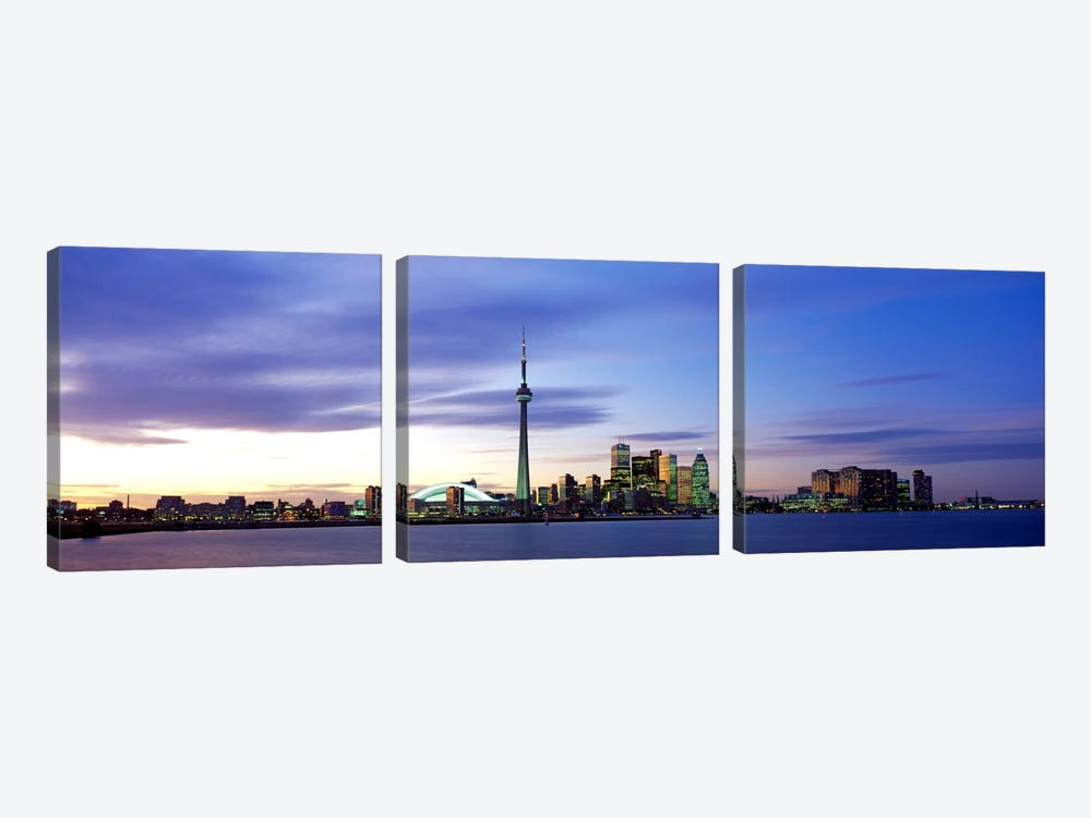 Skyline At Dusk, Toronto, Ontario, Canada by Panoramic Images 3-piece Art Print
