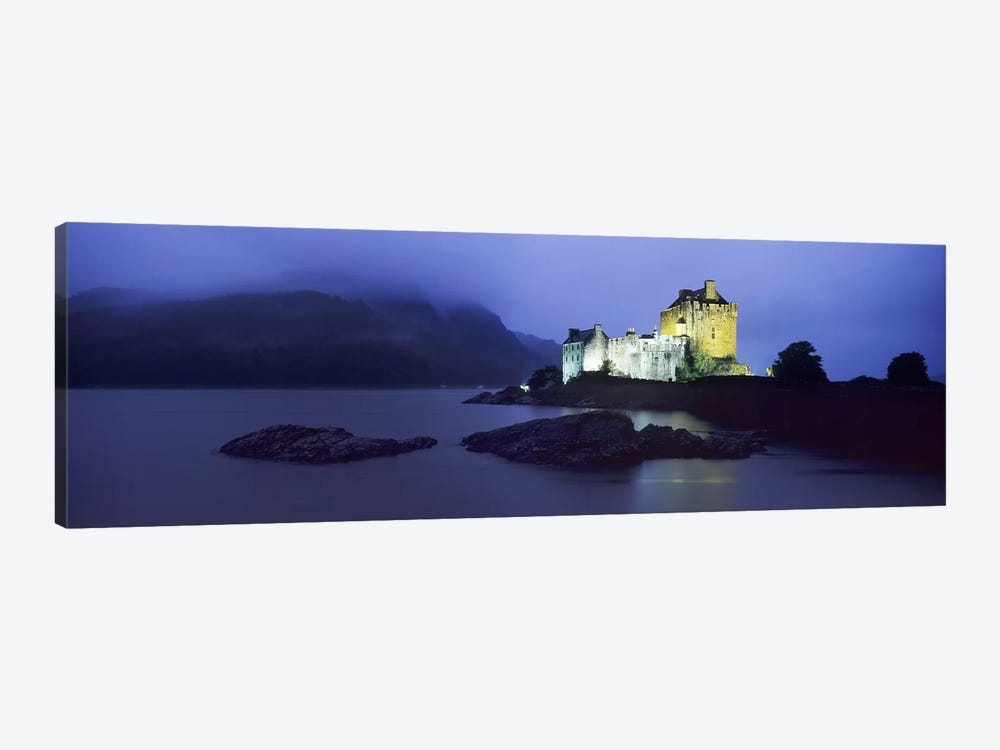 Castle lit up at duskEilean Donan Castle, Loch Duich, Dornie, Highlands Region, Scotland 1-piece Canvas Art Print