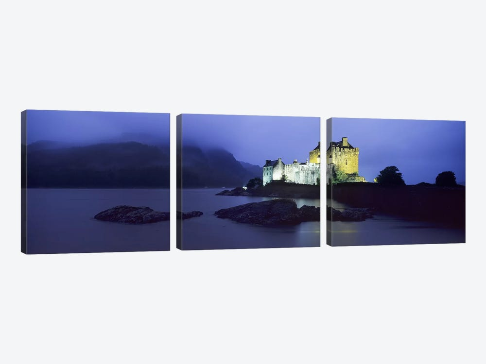 Castle lit up at duskEilean Donan Castle, Loch Duich, Dornie, Highlands Region, Scotland 3-piece Canvas Print