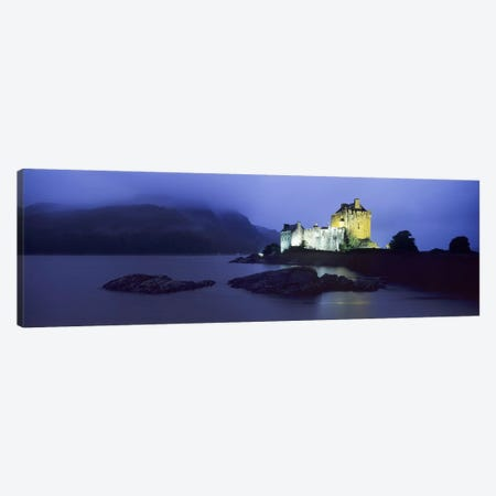 Castle lit up at duskEilean Donan Castle, Loch Duich, Dornie, Highlands Region, Scotland Canvas Print #PIM6607} by Panoramic Images Canvas Art Print
