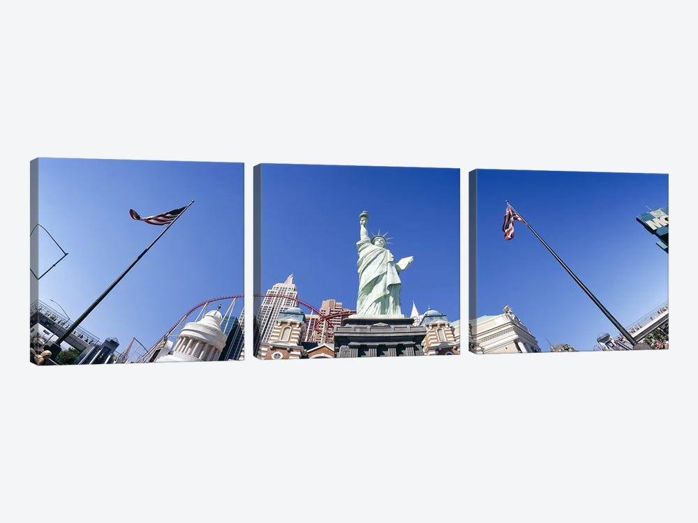 Low angle view of a statue, Replica Statue Of Liberty, Las Vegas, Clark County, Nevada, USA by Panoramic Images 3-piece Canvas Artwork