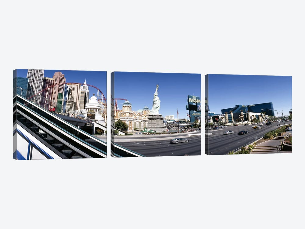 Buildings in a city, New York New York Hotel, MGM Casino, The Strip, Las Vegas, Clark County, Nevada, USA by Panoramic Images 3-piece Art Print