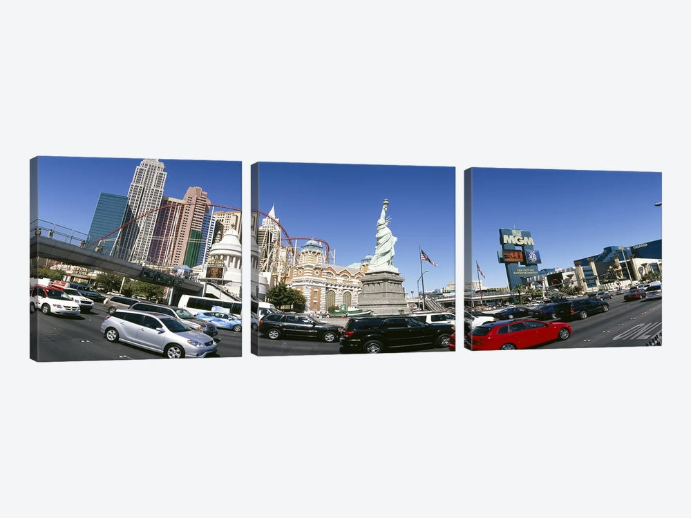 Traffic On The Strip With New York-New York & MGM Grand In The Background, Las Vegas, Clark County, Nevada, USA by Panoramic Images 3-piece Art Print