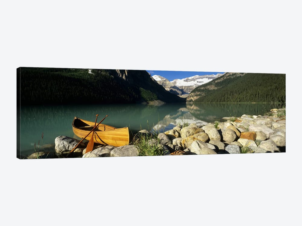 Lone Canoe, Lake Louise, Banff National Park, Alberta, Canada by Panoramic Images 1-piece Canvas Art Print