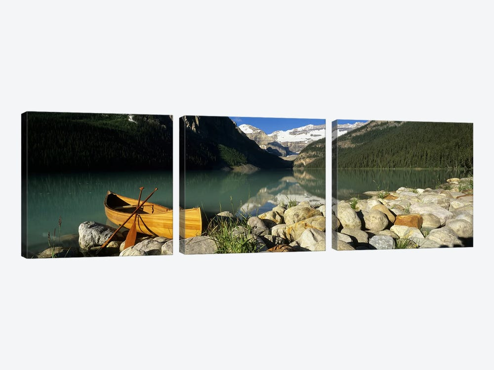 Lone Canoe, Lake Louise, Banff National Park, Alberta, Canada by Panoramic Images 3-piece Art Print