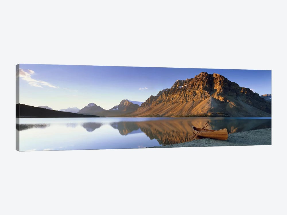 Lone Canoe, Bow Lake, Banff National Park, Alberta, Canada by Panoramic Images 1-piece Canvas Art