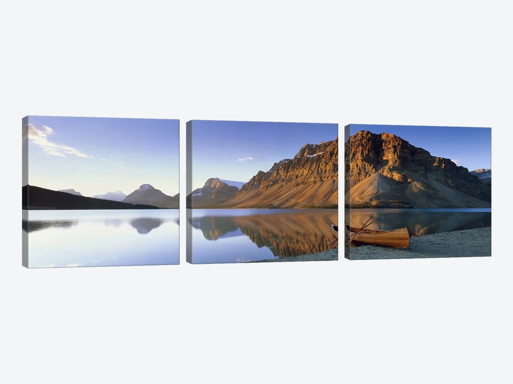 Lone Canoe, Bow Lake, Banff National Park, Alberta, Canada by Panoramic Images 3-piece Canvas Art