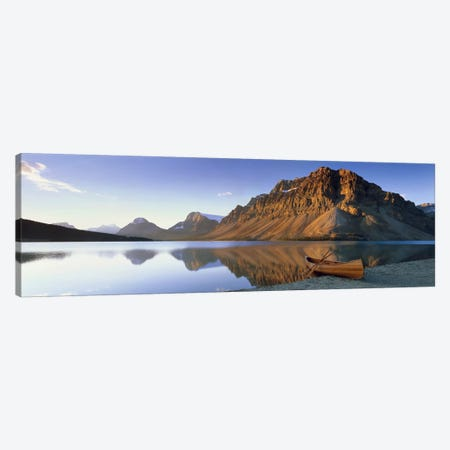 Lone Canoe, Bow Lake, Banff National Park, Alberta, Canada 3-Piece Canvas #PIM6617} by Panoramic Images Canvas Art