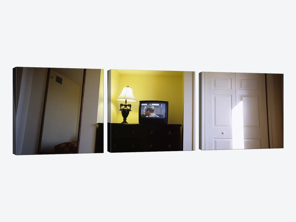 Television and lamp in a hotel room, Las Vegas, Clark County, Nevada, USA by Panoramic Images 3-piece Canvas Art Print