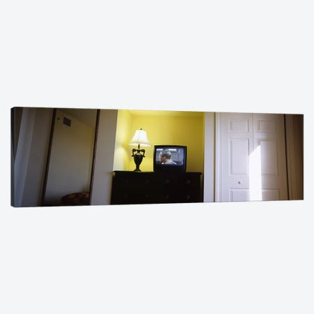 Television and lamp in a hotel room, Las Vegas, Clark County, Nevada, USA 3-Piece Canvas #PIM6629} by Panoramic Images Canvas Wall Art