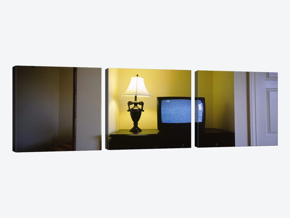 Television and lamp in a hotel room, Las Vegas, Clark County, Nevada, USA #2 by Panoramic Images 3-piece Canvas Print