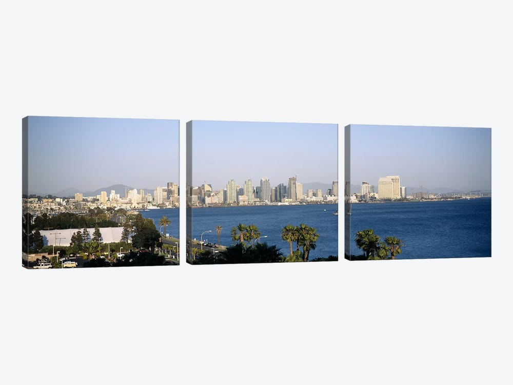 City at the waterfront, San Diego, San Diego Bay, San Diego County, California, USA by Panoramic Images 3-piece Canvas Art