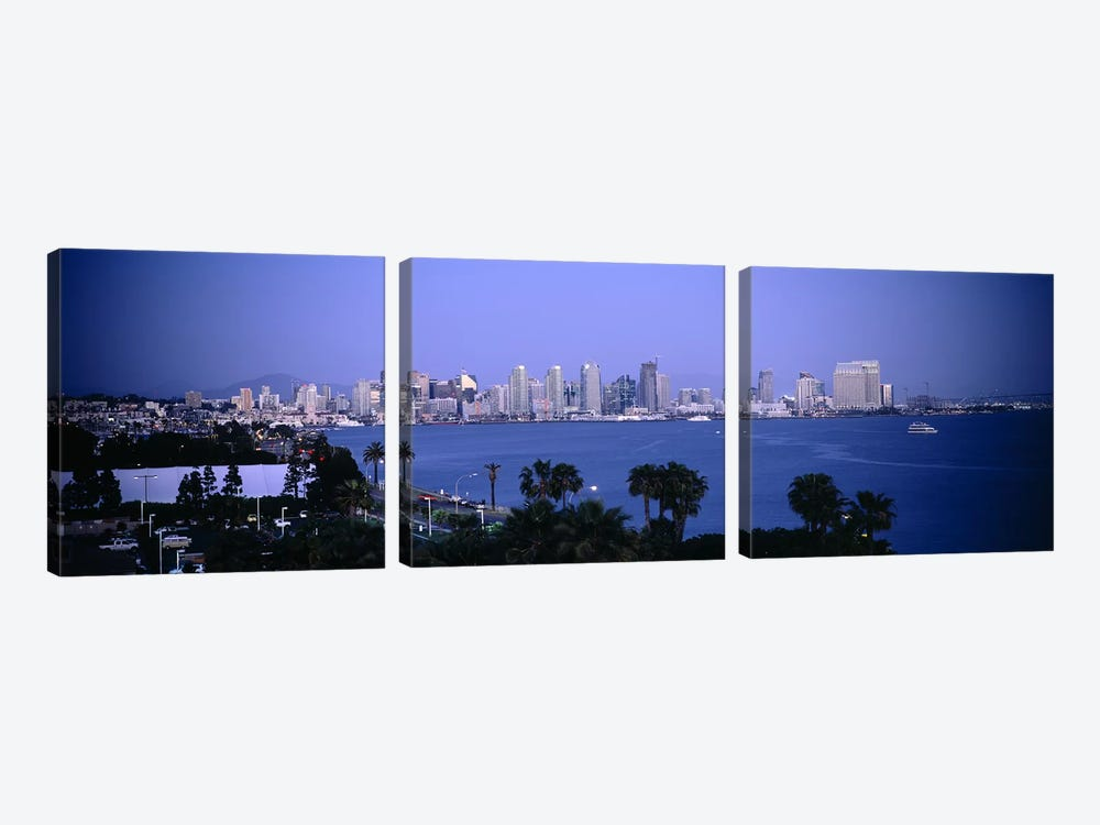 City at the waterfront, San Diego, San Diego Bay, San Diego County, California, USA #2 by Panoramic Images 3-piece Canvas Print