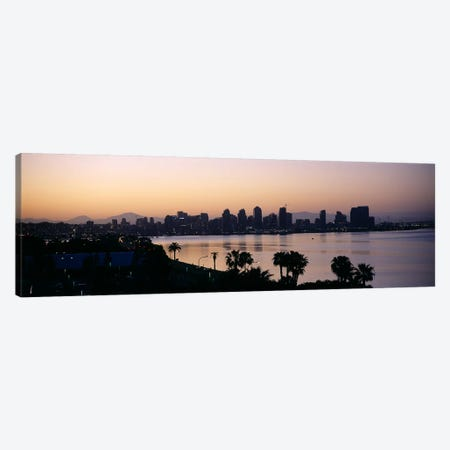 Silhouette of buildings at the waterfront, San Diego, San Diego Bay, San Diego County, California, USA Canvas Print #PIM6635} by Panoramic Images Canvas Artwork