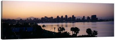 Silhouette of buildings at the waterfront, San Diego, San Diego Bay, San Diego County, California, USA Canvas Art Print