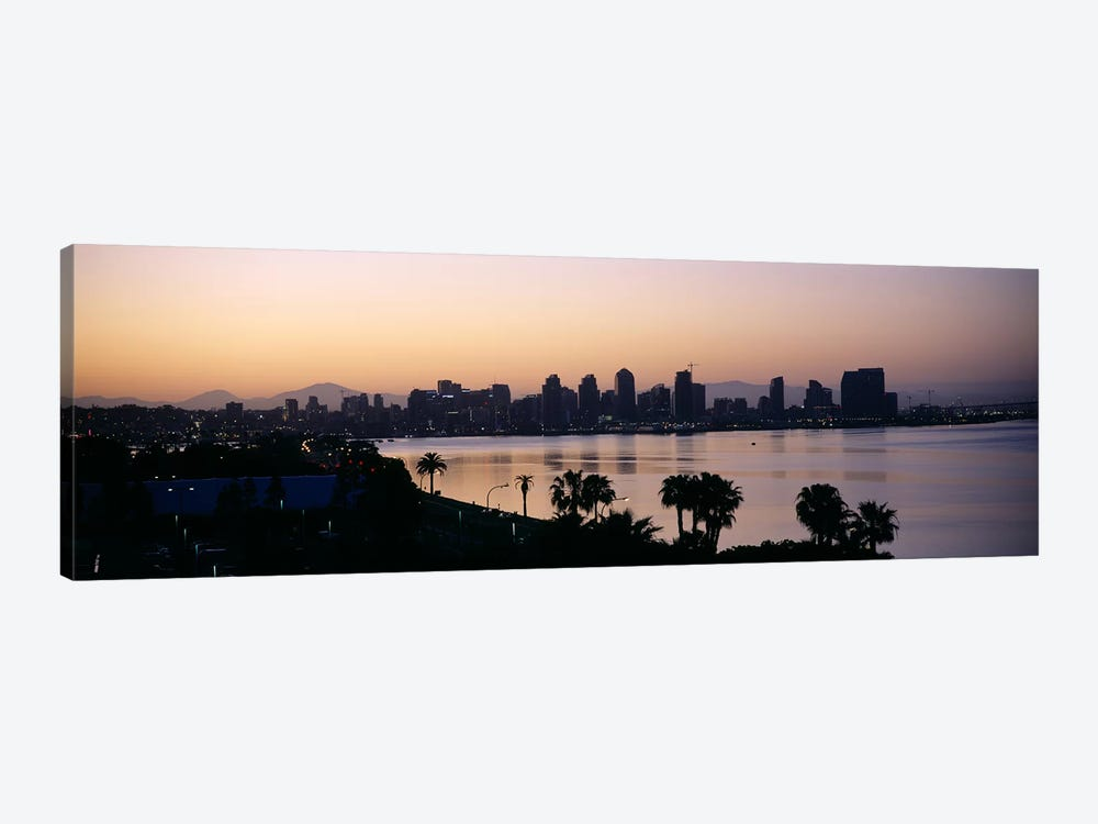 Silhouette of buildings at the waterfront, San Diego, San Diego Bay, San Diego County, California, USA by Panoramic Images 1-piece Canvas Artwork