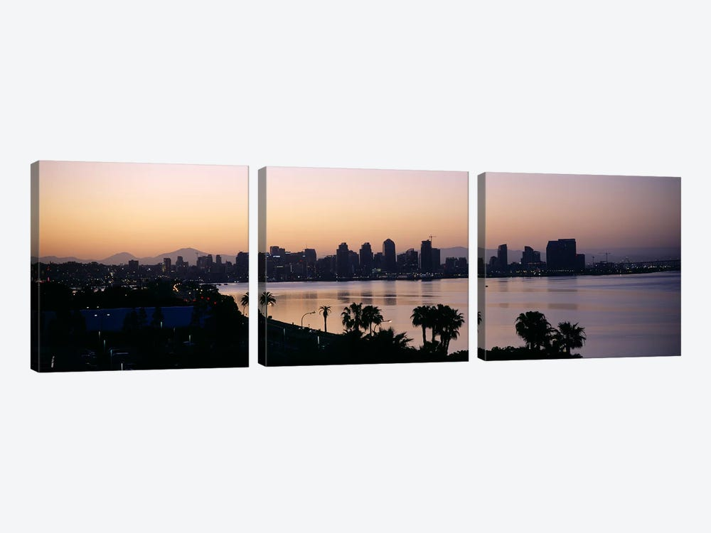 Silhouette of buildings at the waterfront, San Diego, San Diego Bay, San Diego County, California, USA by Panoramic Images 3-piece Canvas Artwork
