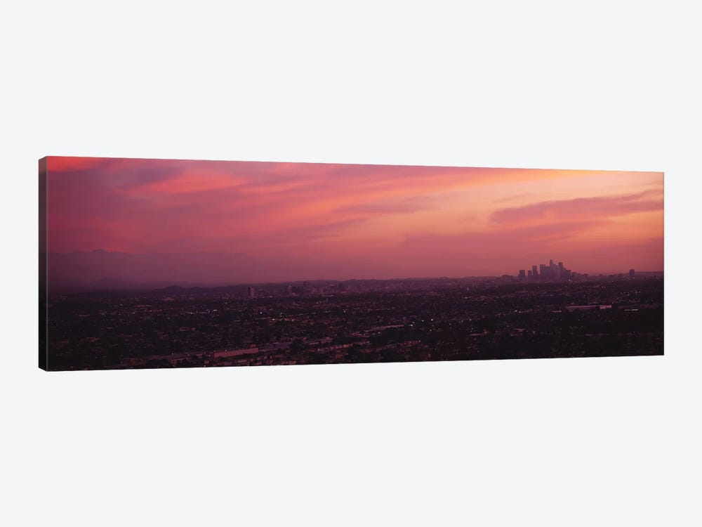 Buildings in a city, Hollywood, San Gabriel Mountains, City Of Los Angeles, Los Angeles County, California, USA by Panoramic Images 1-piece Canvas Wall Art