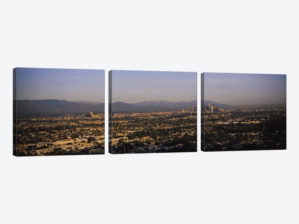 Buildings in a city, Hollywood, San Gabriel Mountains, City Of Los Angeles, Los Angeles County, California, USA #2 by Panoramic Images 3-piece Canvas Art Print