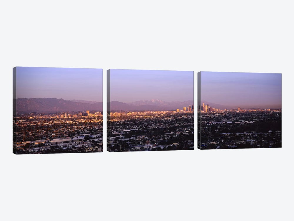 Buildings in a city, Hollywood, San Gabriel Mountains, City Of Los Angeles, Los Angeles County, California, USA #3 by Panoramic Images 3-piece Canvas Art