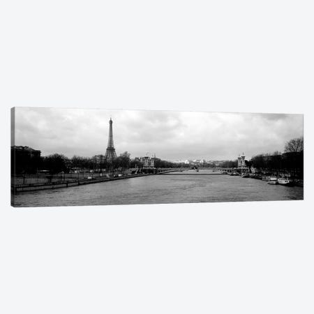 A View Down The Seine In B&W, Paris, Ile-De-France, France Canvas Print #PIM6643} by Panoramic Images Canvas Artwork