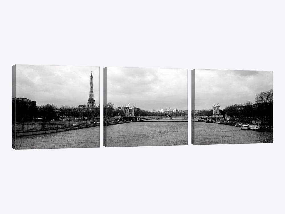 A View Down The Seine In B&W, Paris, Ile-De-France, France by Panoramic Images 3-piece Canvas Art Print