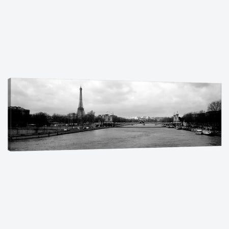 A View Down The Seine In B&W, Paris, Ile-De-France, France Canvas Print #PIM6643} by Panoramic Images Canvas Artwork