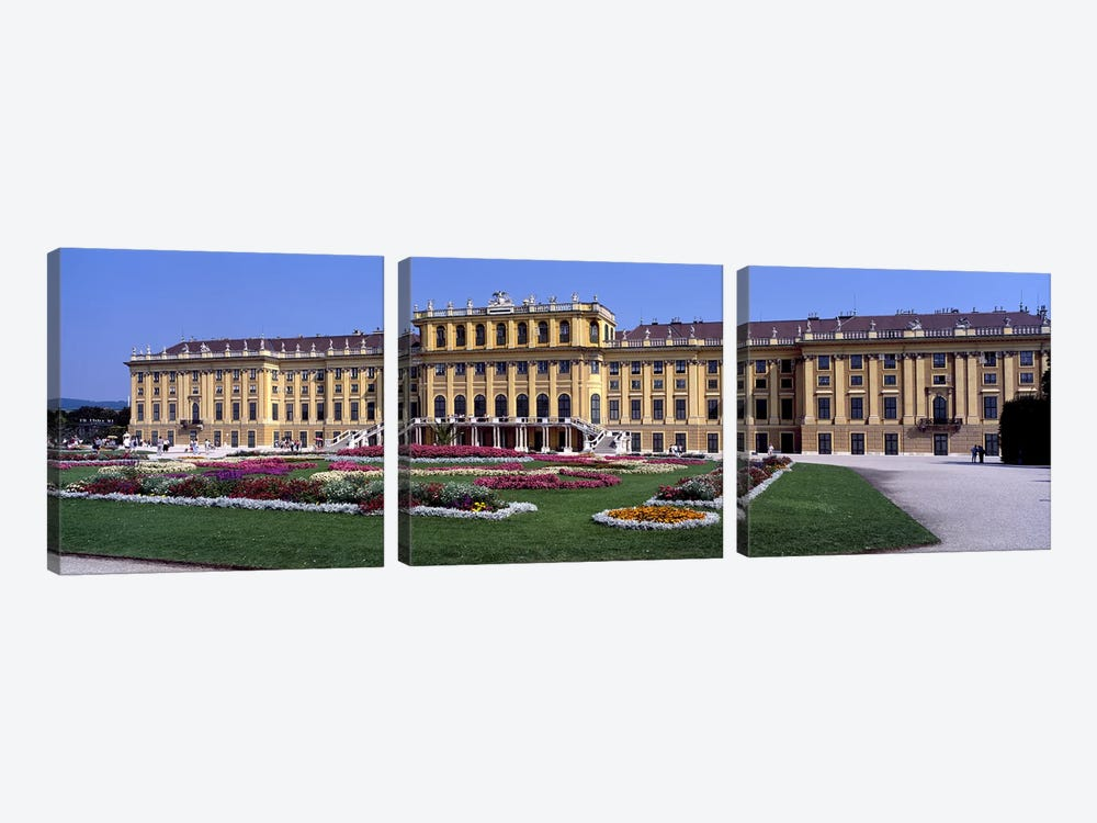 Formal garden in front of a palace, Schonbrunn Palace Garden, Schonbrunn Palace, Vienna, Austria by Panoramic Images 3-piece Canvas Art Print