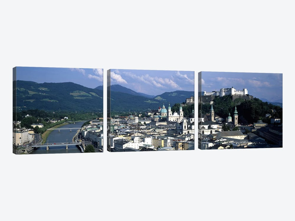 High-Angle View Of Altstadt, Salzburg, Austria by Panoramic Images 3-piece Canvas Print