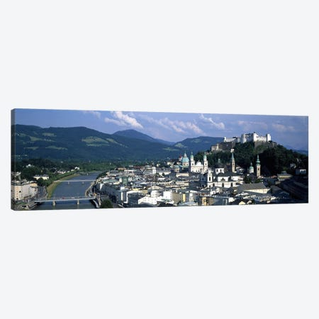 High-Angle View Of Altstadt, Salzburg, Austria 3-Piece Canvas #PIM6647} by Panoramic Images Art Print