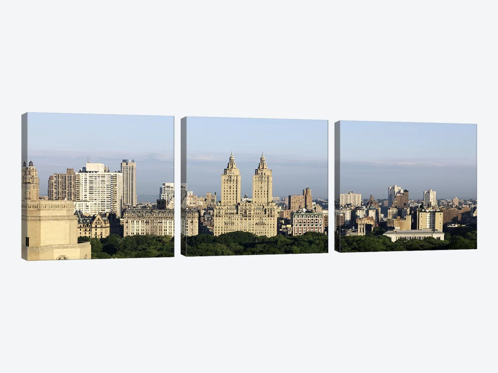 High angle view of a city (The Dakota, The Langham, The San Remo), Central Park West, Manhattan, New York City, New York State,  by Panoramic Images 3-piece Canvas Print