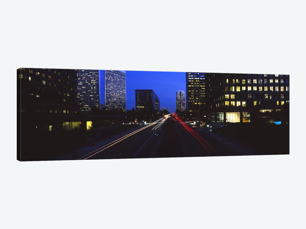 Buildings lit up at night, Century City, Los Angeles, California, USA by Panoramic Images 1-piece Canvas Artwork