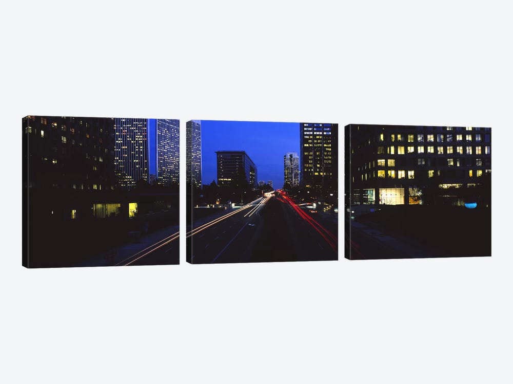 Buildings lit up at night, Century City, Los Angeles, California, USA by Panoramic Images 3-piece Canvas Art