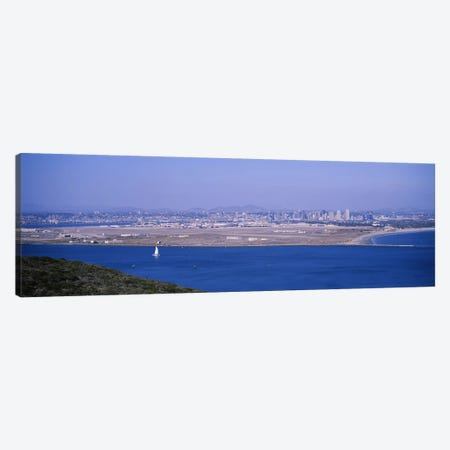 High angle view of a coastline, Coronado, San Diego, San Diego Bay, San Diego County, California, USA Canvas Print #PIM6653} by Panoramic Images Canvas Art Print