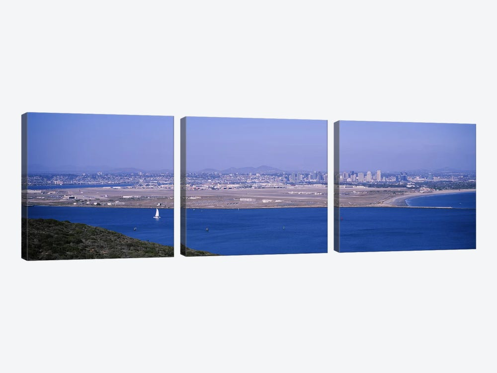 High angle view of a coastline, Coronado, San Diego, San Diego Bay, San Diego County, California, USA by Panoramic Images 3-piece Canvas Art