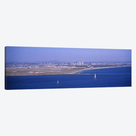 High angle view of a coastline, Coronado, San Diego, San Diego Bay, San Diego County, California, USA #2 Canvas Print #PIM6654} by Panoramic Images Canvas Artwork