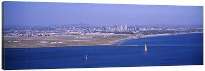 High angle view of a coastline, Coronado, San Diego, San Diego Bay, San Diego County, California, USA #2 Canvas Print #PIM6654