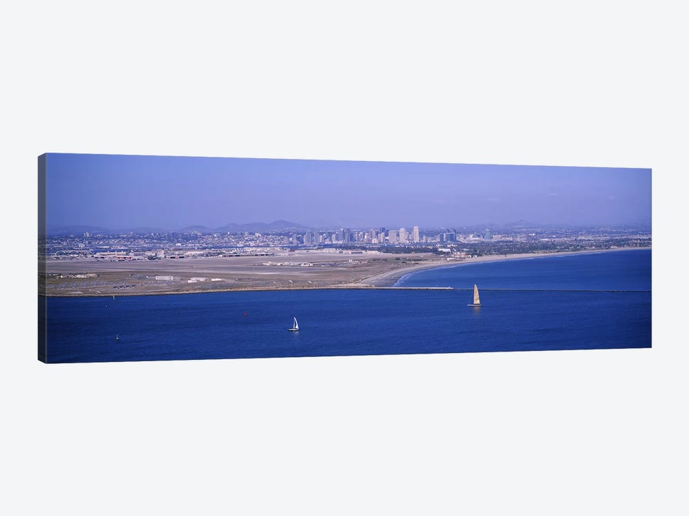 High angle view of a coastline, Coronado, San Diego, San Diego Bay, San Diego County, California, USA #2 by Panoramic Images 1-piece Canvas Print