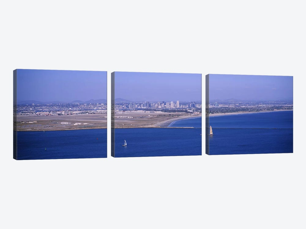 High angle view of a coastline, Coronado, San Diego, San Diego Bay, San Diego County, California, USA #2 by Panoramic Images 3-piece Canvas Print