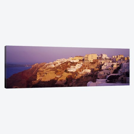 Town on a cliff, Santorini, Greece Canvas Print #PIM6656} by Panoramic Images Canvas Artwork