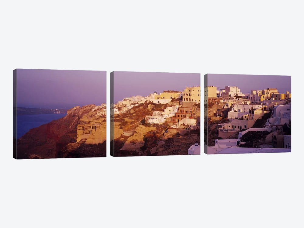 Town on a cliff, Santorini, Greece by Panoramic Images 3-piece Art Print