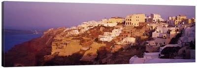 Town on a cliff, Santorini, Greece Canvas Art Print