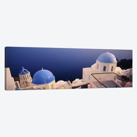 High angle view of blue domed church at the coast, Oia, Santorini, Greece Canvas Print #PIM6658} by Panoramic Images Canvas Print