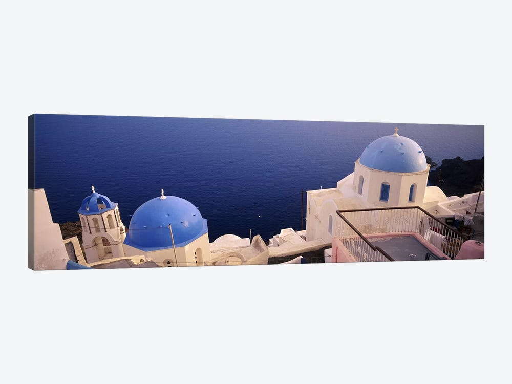 High angle view of blue domed church at the coast, Oia, Santorini, Greece by Panoramic Images 1-piece Canvas Print
