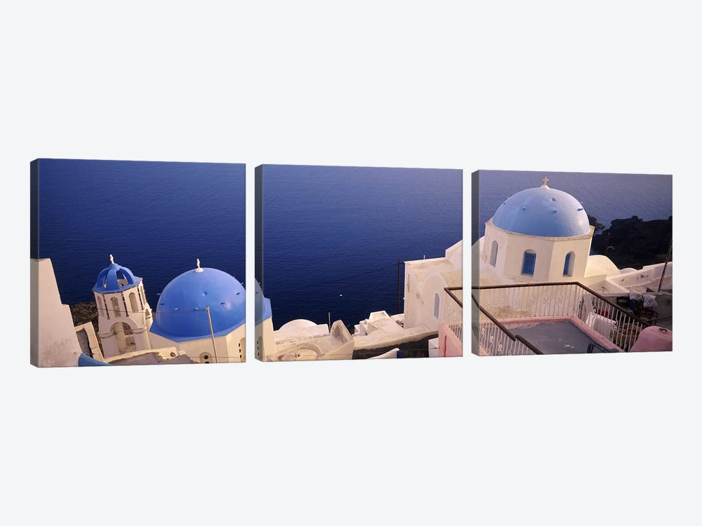High angle view of blue domed church at the coast, Oia, Santorini, Greece by Panoramic Images 3-piece Art Print