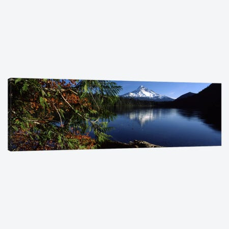 Reflection of a mountain in a lake, Mt Hood, Lost Lake, Mt. Hood National Forest, Hood River County, Oregon, USA Canvas Print #PIM6667} by Panoramic Images Canvas Print